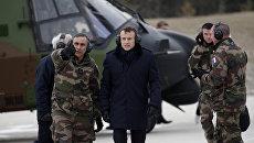 Президент Франции Эммануэль Макрон на военных учениях французской армии. Архивное фото