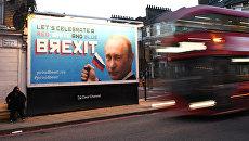 Плакат с портретом президента РФ Владимира Путина в Лондоне. 8 ноября 2018