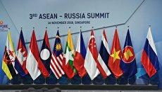 Флаги стран-участниц 3-го саммита Россия-АСЕАН в Сингапуре