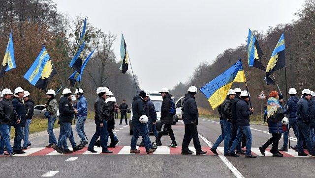 Шахтеры заблокировали международную автодорогу Львов — Рава-Русская во Львовской области