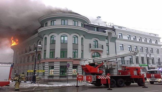 В центре Казани горело офисное здание на площади 500 квадратных метров
