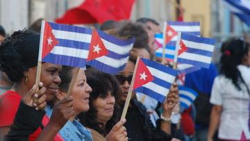 Демонстрация на улицах Гаванны. Архивное фото