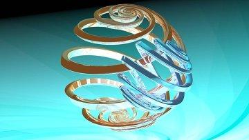 Художественное отображение магнитного момента ядра атома фосфора, квантово-запутанного с магнитным моментом электрона. Запутанные состояния называются неразделимыми, поскольку невозможно описать состояние одного магнитного момента без описания другого.