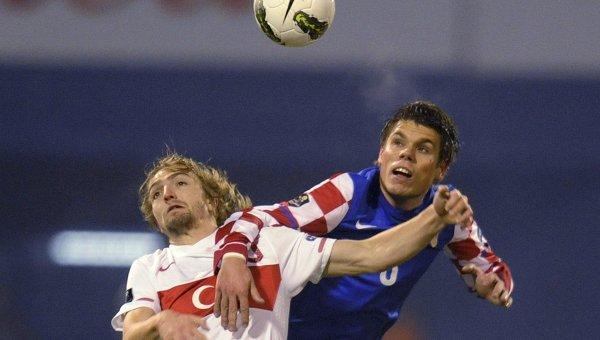 Игровой момент матча Турция - Хорватия