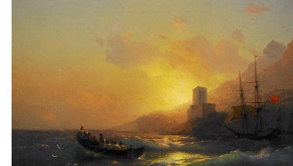 Полотно Закат над Великой Лавой, Святой Афон Ивана Айвазовского