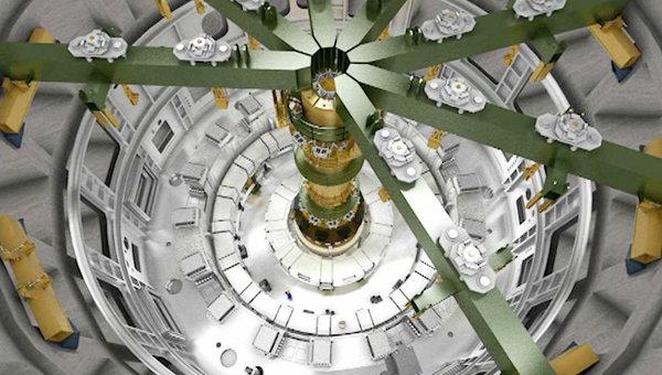 Процесс сборки термоядерного реактора ИТЭР. Архивное фото