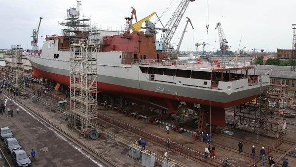 Спуск на воду фрегата проекта 11356 для ВМС Индии. Архив
