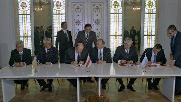 Подписание Соглашения о ликвидации СССР и создании Содружества Независимых Государств. Архив