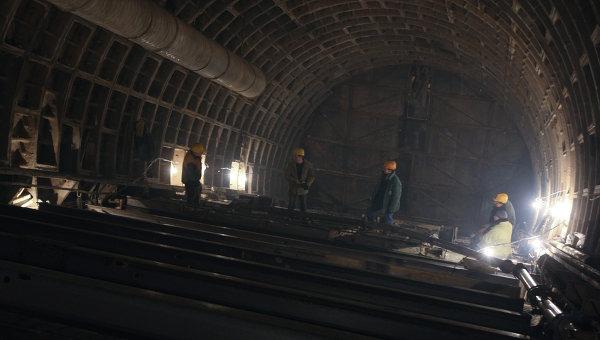 Строительство станции московского метро. Архив
