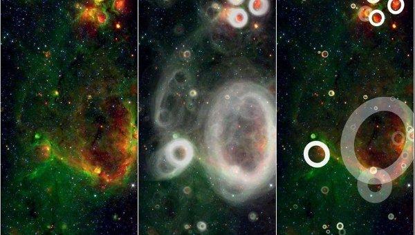 Звездные пузыри, найденные участниками проекта Milky Way Project
