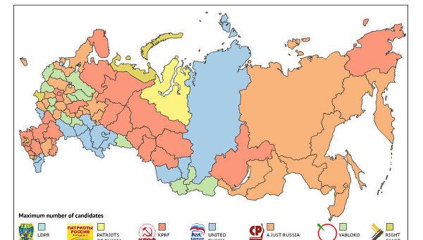 Инфографика «Партии и регионы на выборах в Госдуму 2011 года»