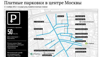 Платные парковки в центре Москве