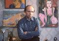 Актер Андрей Мягков дома, со своими живописными работами