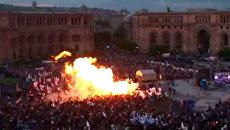Люди в горящей одежде разбегались с митинга в Ереване