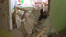 Комнаты завалило штукатуркой и кирпичами в результате взрыва в детском саду