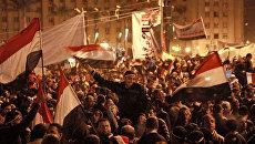 Демонстранты на площади Тахрир в Каире