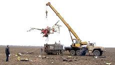Обломки рухнувшего в Крыму самолета убирали с помощью подъемного крана