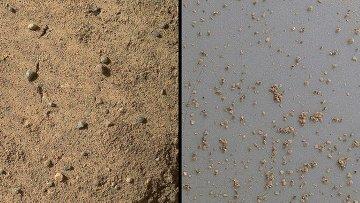 Марсианский песок под микроскопом, снимок прибора MAHLI, установленного на манипуляторе марсохода Curiosity