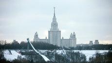 Воробьевы горы и здание МГУ. Архив