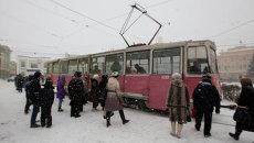 Трамваи в Томске зимой