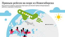 Карта прямых авиарейсов на заграничные курорты из Новосибирска