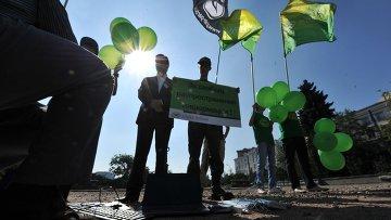 Участники санкционированной акции за свободу информации в интернете, организованной партией Альянс Зеленых. Архивное фото