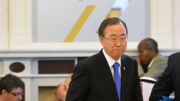Генеральный секретарь ООН Пан Ги Мун на рабочем заседании глав делегаций государств-участников Группы двадцати
