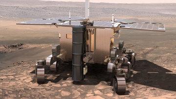 Рисунок, изображающий марсоход проекта ЭкзоМарс на Красной планете