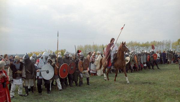 Реконструкция военно-исторических событий Куликовской битвы. Архивное фото