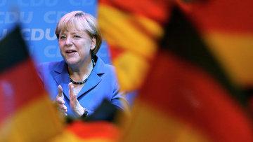 Ангела Меркель после победы коалиции ХДС/ХСС на выборах в бундестаг