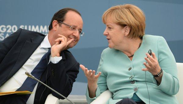 Президент Франции Франсуа Олланд и Федеральный канцлер Германии Ангела Меркель. Архивное фото