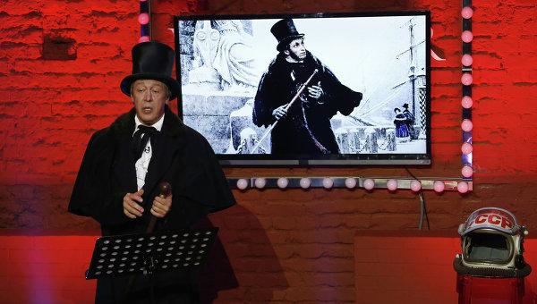 Актер Михаил Ефремов во время прямого эфира ньюзикла Господин Хороший
