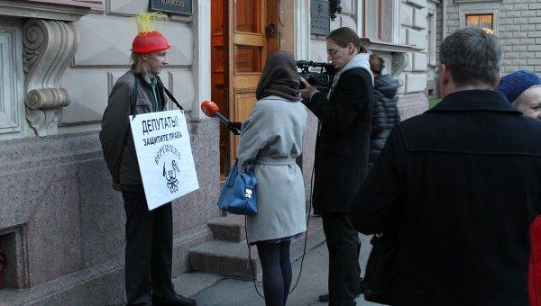 Одиночный пикет представителя пастафарианской церкви. Фото с места события