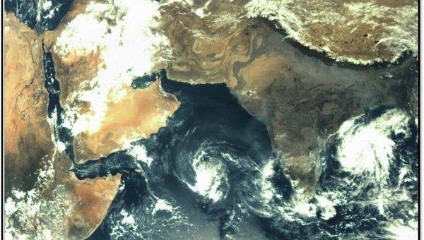 Снимок Земли, сделанный с помощью камеры Mars Color Camera на борту марсианского зонда Мангальян