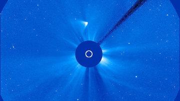 Остатки кометы ISON на снимках с солнечной обсерватории SOHO