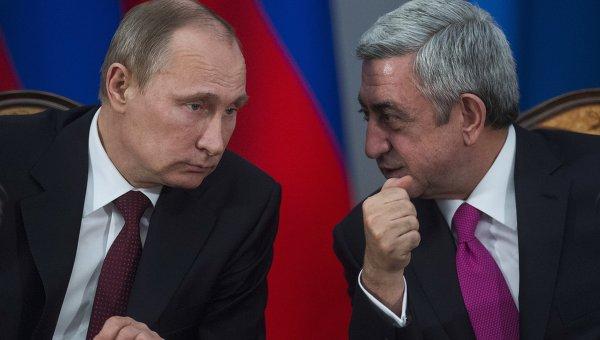 Президент России Владимир Путин и президент Армении Серж Саргсян. Архивное фото