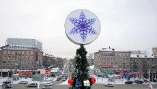 Вид на Новосибирск в высоты макушки новогодней ёлки
