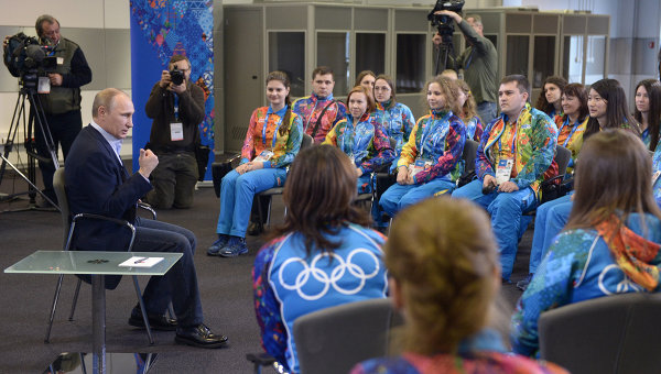 Встреча В.Путина с олимпийскими волонтерами в Сочи. Фото с места события