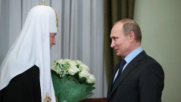 В. Путин поздравил патриарха Кирилла с пятилетием интронизации. Фото с места события
