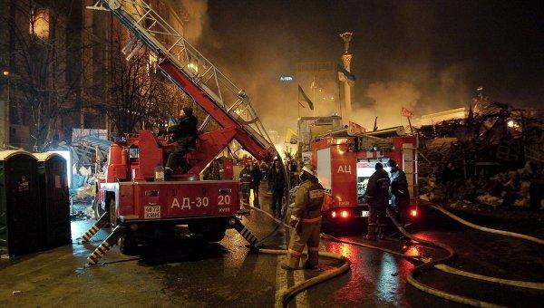 Тушение пожара в Доме профсоюзов в Киеве