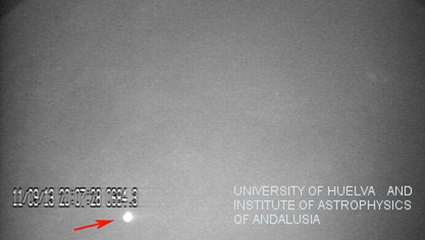Вспышка при падении метеорита в Море Облаков на Луне 11 сентября 2013 года
