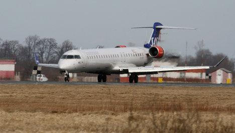 Самолет авиакомпании SAS в аэропорту Храброво