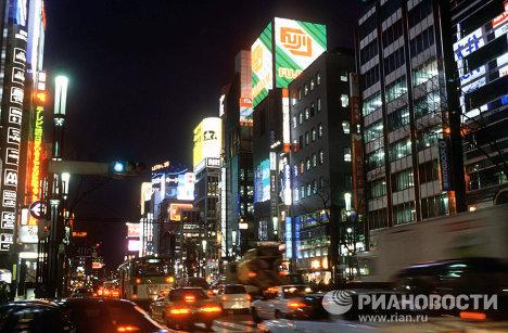 В центре Токио вечером