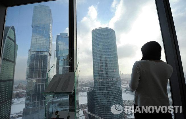 Вид на строящиеся здания Делового центра Москва Сити