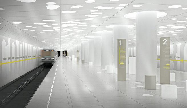 Дизайн платформы метро Солнцево