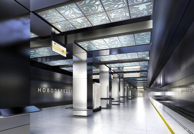 Дизайн платформы метро Новопеределкино