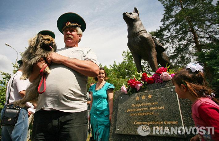 В Волгограде установили памятник собакам-подрывникам