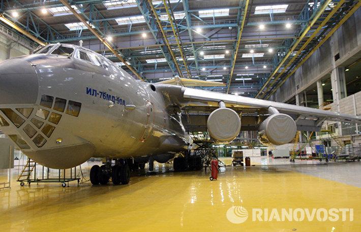 Транспортный самолет Ил-76МД-90А в цехе ЗАО Авиастар-СП в Ульяновске