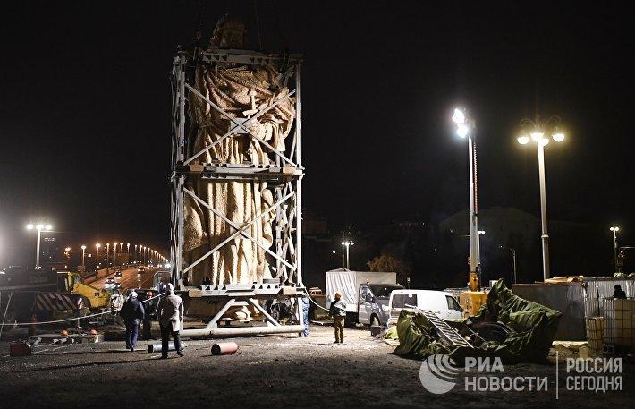 Транспортировка и монтаж памятника Князю Владимиру