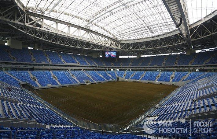 Трибуны стадиона Крестовский в Санкт-Петербурге